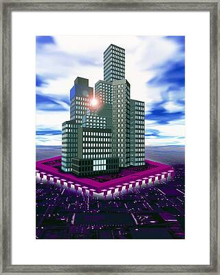 Computer Art Of Future City Floating On Microchip Framed Print by Victor Habbick Visions