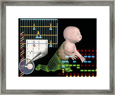 Computer Artwork Depicting Baby's Paternity Test Framed Print by Laguna Design