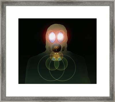 Computer Artwork Of A Figure Wearing A Gas Mask Framed Print by Laguna Design