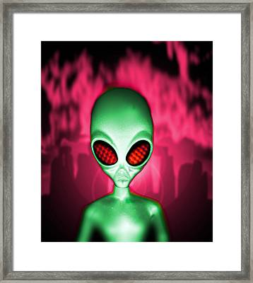 Computer Artwork Of An Alien Or Extraterrestrial Framed Print by Victor Habbick Visions