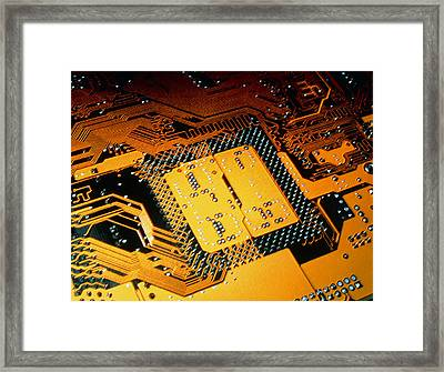 Computer Artwork Of Personal Computer Motherboard Framed Print by Laguna Design
