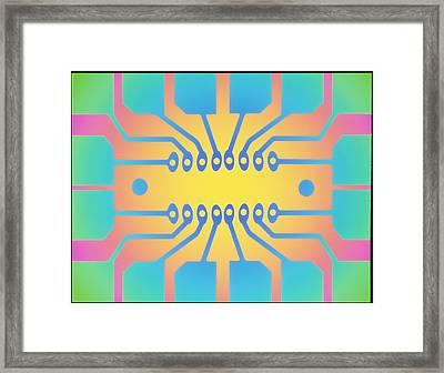 Computer Artwork Representing A Circuit B Framed Print by Mehau Kulyk