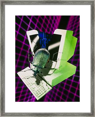Computer Artwork Representing The Millennium Bug Framed Print by Victor Habbick Visions