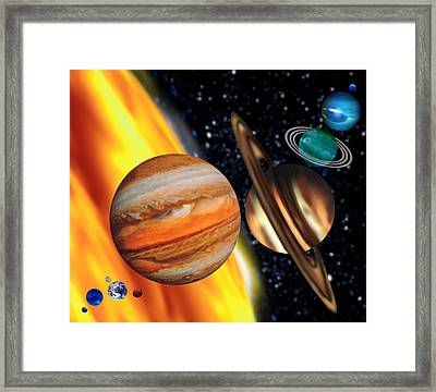 Computer Artwork Showing Relative Sizes Of Planets Framed Print by Victor Habbick Visions