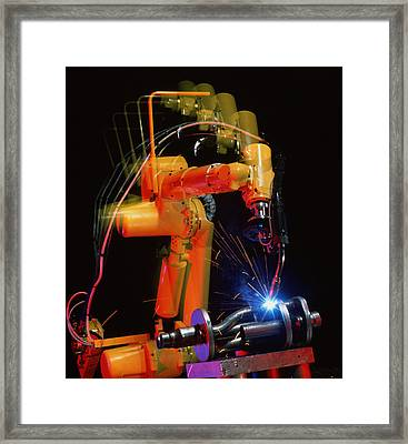 Computer-controlled Electric Arc-welding Robot Framed Print by David Parker, 600 Group Fanuc