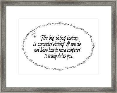 Computer Dating Framed Print by Ruth Bodycott