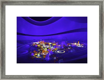 Computer Generated Blue Abstract Fractal Flame Modern Art Framed Print by Keith Webber Jr