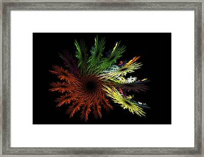 Computer Generated Red Yellow Green Abstract Fractal Flame Black Framed Print