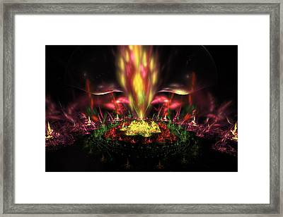Computer Generated Red Yellow Green Abstract Fractal Flame Framed Print by Keith Webber Jr
