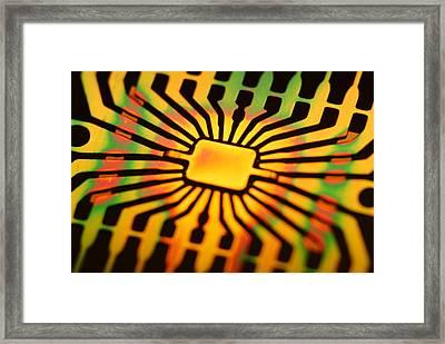 Computer Microchip Circuit Framed Print by Pasieka