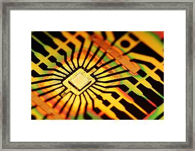 Computer Microchip Framed Print by Pasieka
