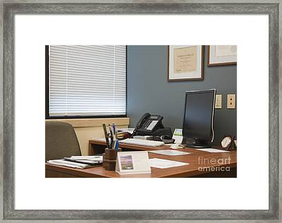 Computer Monitor And Office Space Framed Print by Andersen Ross