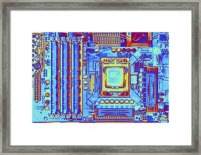 Computer Motherboard With Core I7 Cpu Framed Print by Pasieka