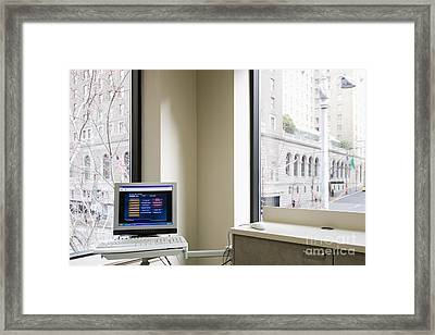 Computer Screen And Keyboard Framed Print by Andersen Ross