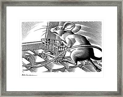 Computer Shopping, Conceptual Artwork Framed Print by Bill Sanderson