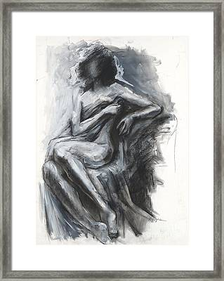 Concealed Woman With Drapery Framed Print by Kristina Laurendi Havens