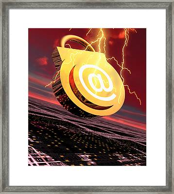 Conceptual Image Of E-mail Security Framed Print by Victor Habbick Visions