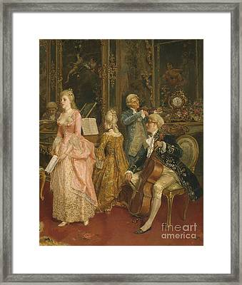 Concert At The Time Of Mozart Framed Print by Ettore Simonetti