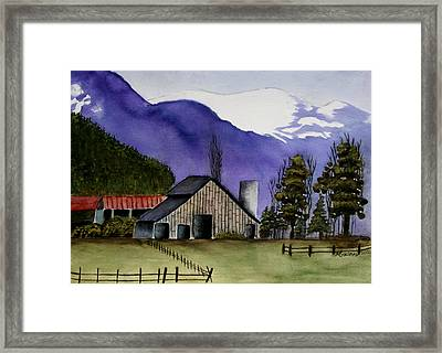 Concrete Barn Watercolor Framed Print by Mary Gaines
