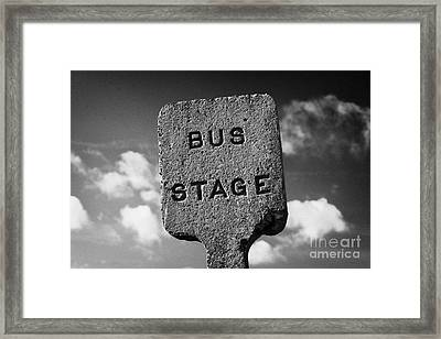 Concrete Northern Ireland Road Transport Board 1935 1948 Bus Stage Stop Road Sign  Framed Print