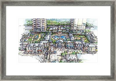 Framed Print featuring the drawing Condominium by Andrew Drozdowicz