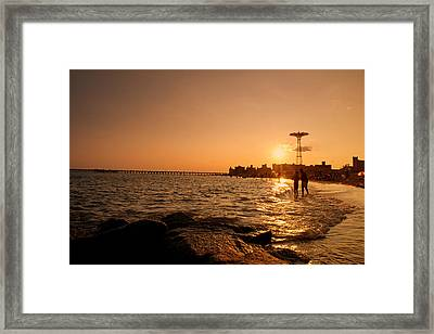 Coney Island Beach Sunset - New York City Framed Print