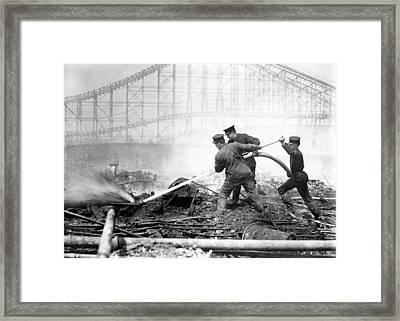 Coney Island, The Dreamland Fire, Men Framed Print by Everett