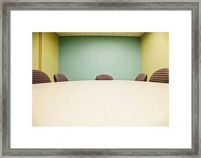 Conference Room Table And Chairs Framed Print by Jetta Productions, Inc
