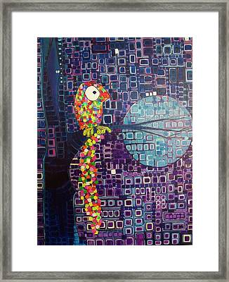 Framed Print featuring the painting Confetti Bird by Donna Howard