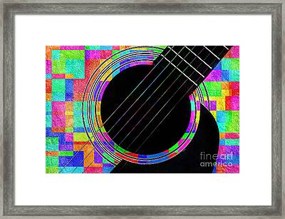 Confetti Guitar Framed Print by Andee Design