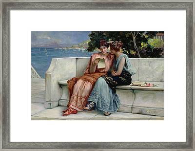Confidences Framed Print by Guglielmo Zocchi