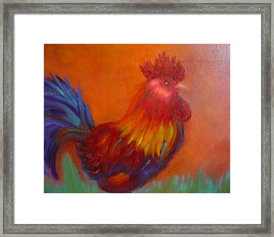 Framed Print featuring the painting Confident Rooster by Margaret Harmon