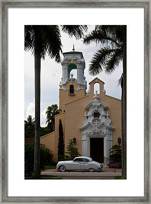 Framed Print featuring the photograph Congregational Church Front Door by Ed Gleichman