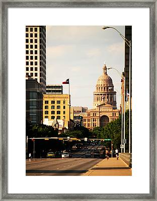 Congress Avenue In Austin And Texas State Capitol Building Framed Print