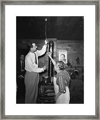 Congressman Lyndon Johnson Examines Framed Print by Everett