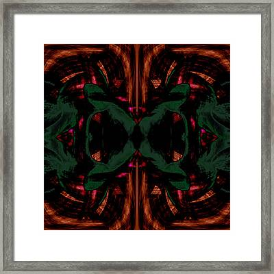 Conjoint - Copper And Green Framed Print