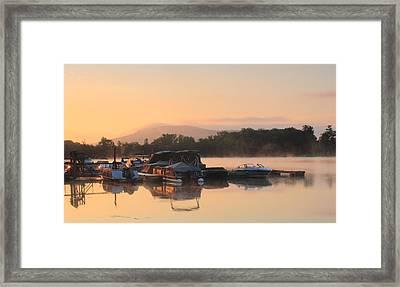 Connecticut River Oxbow Morning Fog Mount Holyoke Framed Print by John Burk