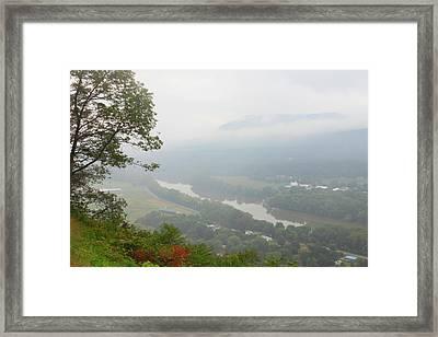 Connecticut River Valley Fog Mount Sugarloaf Framed Print by John Burk