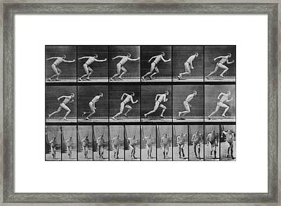 Consecutive Images Of A Man Running Framed Print