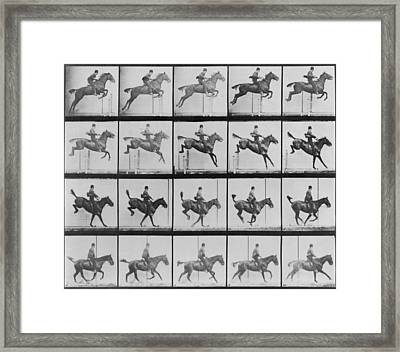 Consecutive Images Of Man Riding Framed Print by Everett
