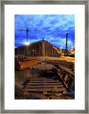 Constraction Site At Night Framed Print