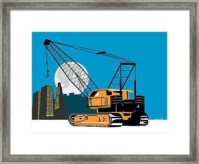 Construction Crane Hoist Retro Framed Print by Aloysius Patrimonio
