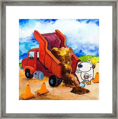Construction Dogs 4 Framed Print by Scott Nelson