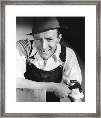 Construction Worker Wirth Hammer Framed Print by George Marks