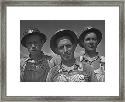 Construction Workers At Watts Bar Dam Framed Print by Everett