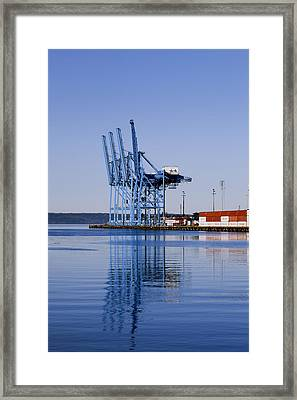 Container Craines At The Port Framed Print by Douglas Orton
