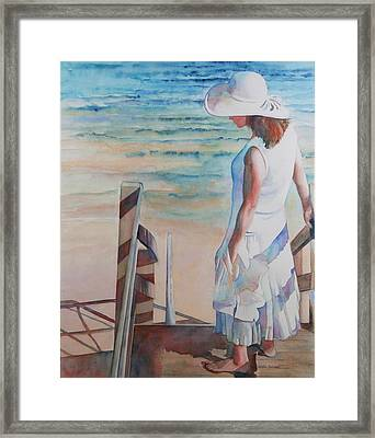 Contemplating The Bay Framed Print by Leslie Berman