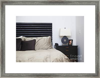 Contemporary Bed And Nightstand Framed Print by Inti St. Clair