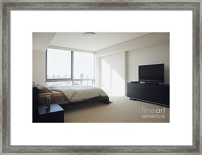Contemporary Bedroom Interior Framed Print by Inti St. Clair