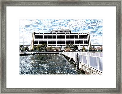Contemporary Resort Profile Walt Disney World Prints Colored Pencil Framed Print by Shawn O'Brien